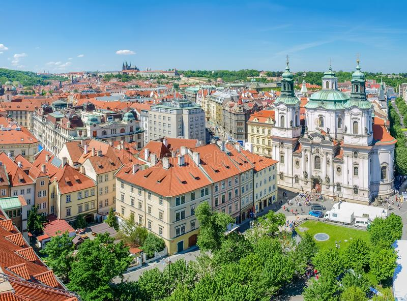 View from Old Town City Hall to north west, Prague royalty free stock images