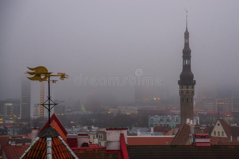 View of the old town in foggy weather. Town Hall spire. Toompea district. Tallinn, Estonia.  stock photo