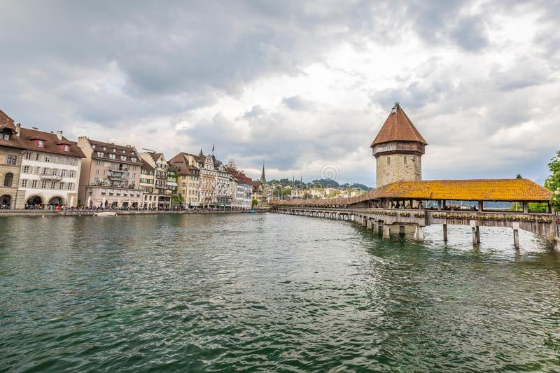 View of the old town in Lucerne. Mountain lake in the Alps stock photo