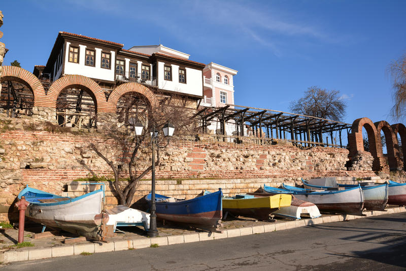 View of old town Nesebar, Bulgaria royalty free stock image
