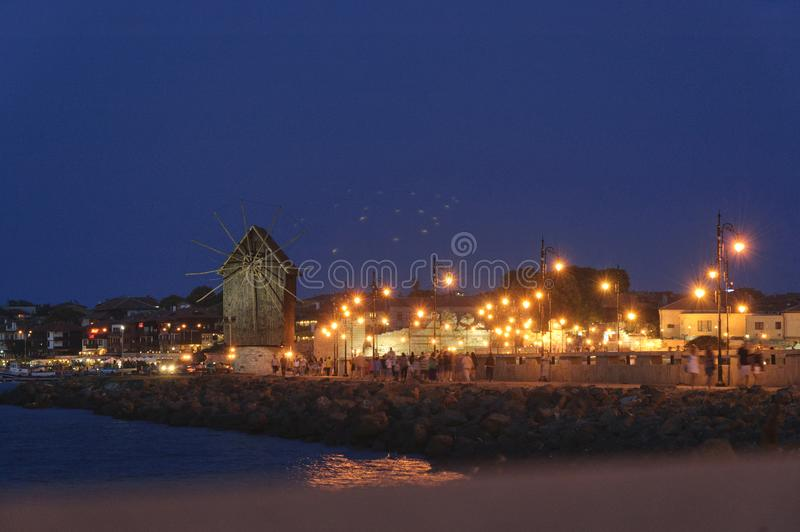 The view of the Old Town of Nesebar at Night stock images
