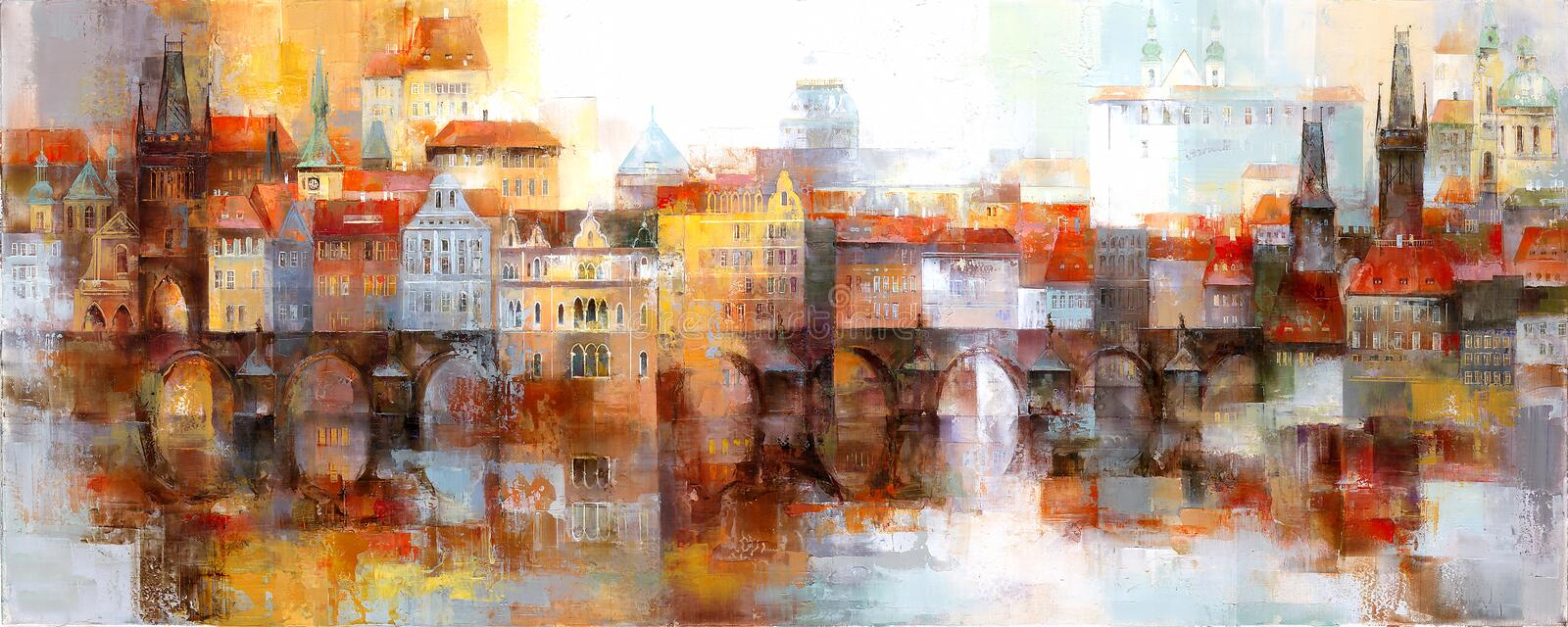 View of the old town in Prague. With famous landmarks. Acrylic painting vector illustration