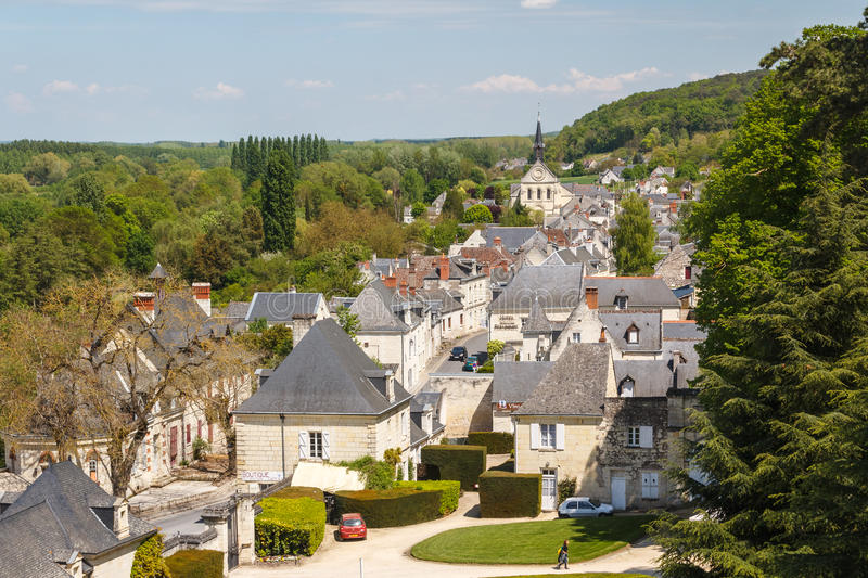 A view of old town of Rigny-Usse stock photos
