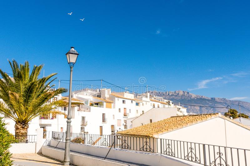 View of old town streets in Altea city, Spain royalty free stock images