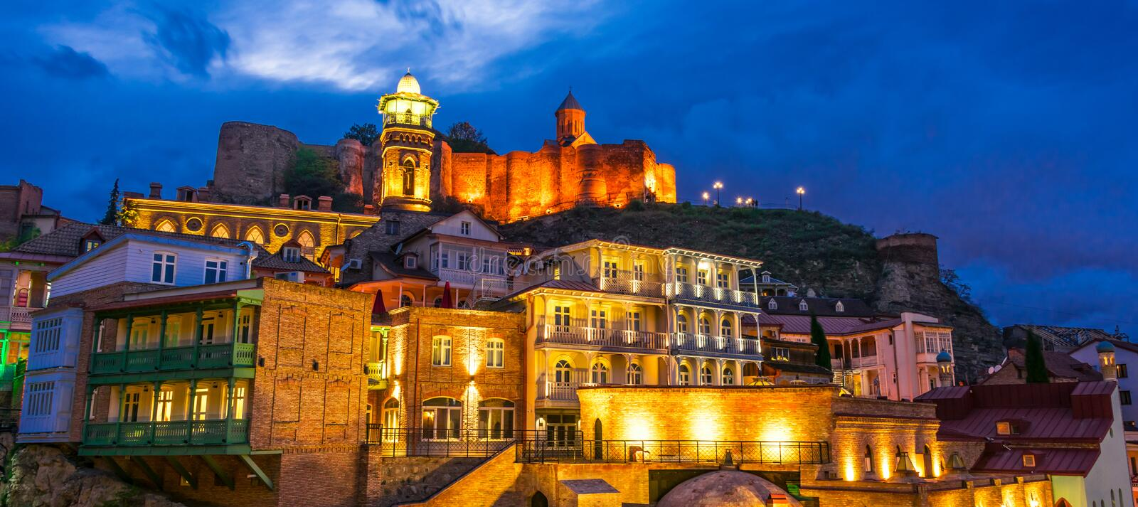 View of the Old Town of Tbilisi, Georgia after sunset stock photography