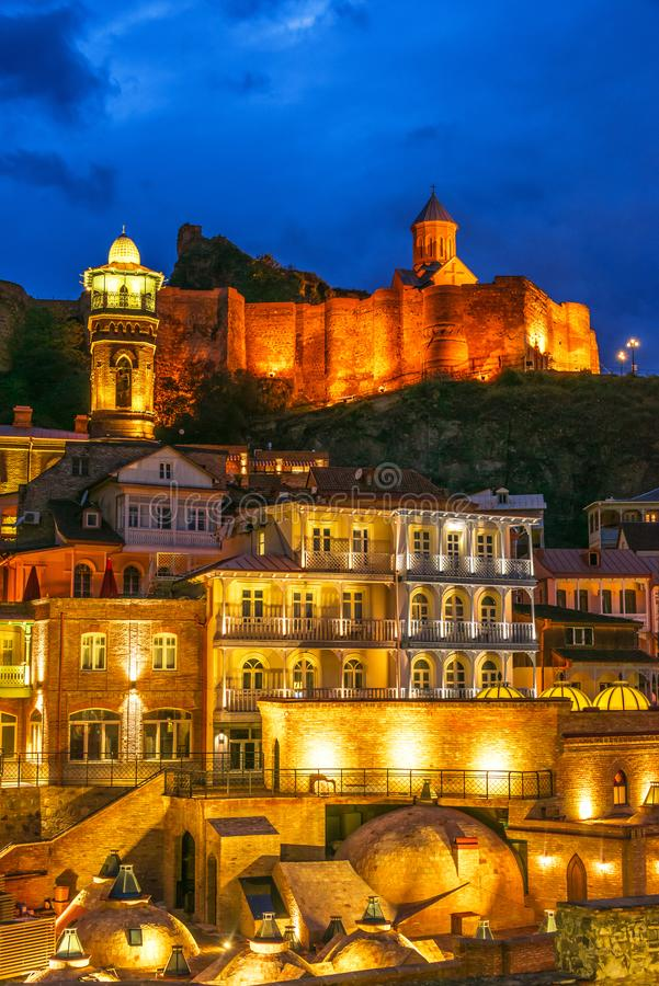 View of the Old Town of Tbilisi, Georgia after sunset royalty free stock photo