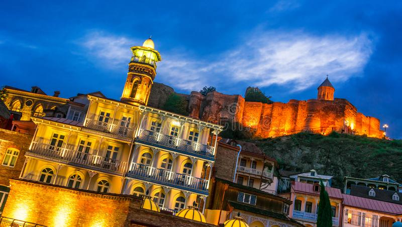 View of the Old Town of Tbilisi, Georgia after sunset royalty free stock image