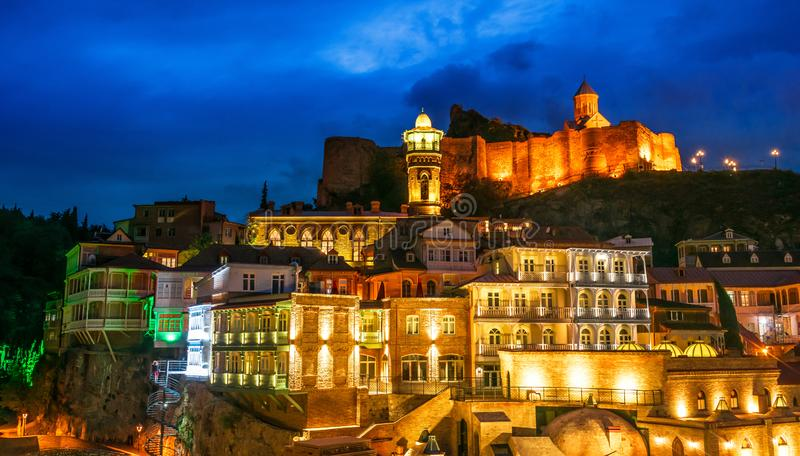 View of the Old Town of Tbilisi, Georgia after sunset royalty free stock images