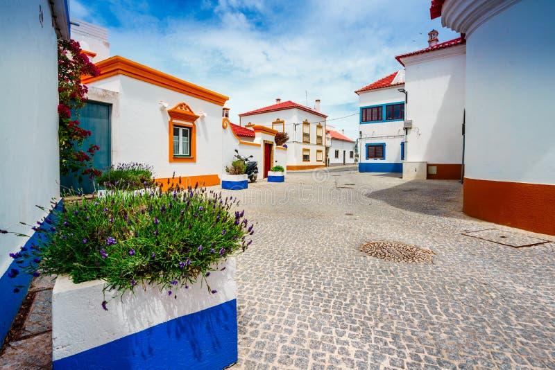 View on the old town Vila Nova de Milfontes, Portugal royaltyfri fotografi