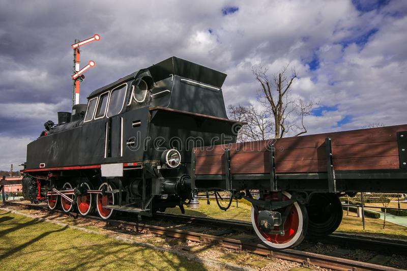 View of old train wagon in the historic Wieliczka village, Poland stock photography