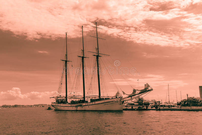 View of old vintage classic cruise ship, frigate standing in lake Ontario waterfront royalty free stock photo