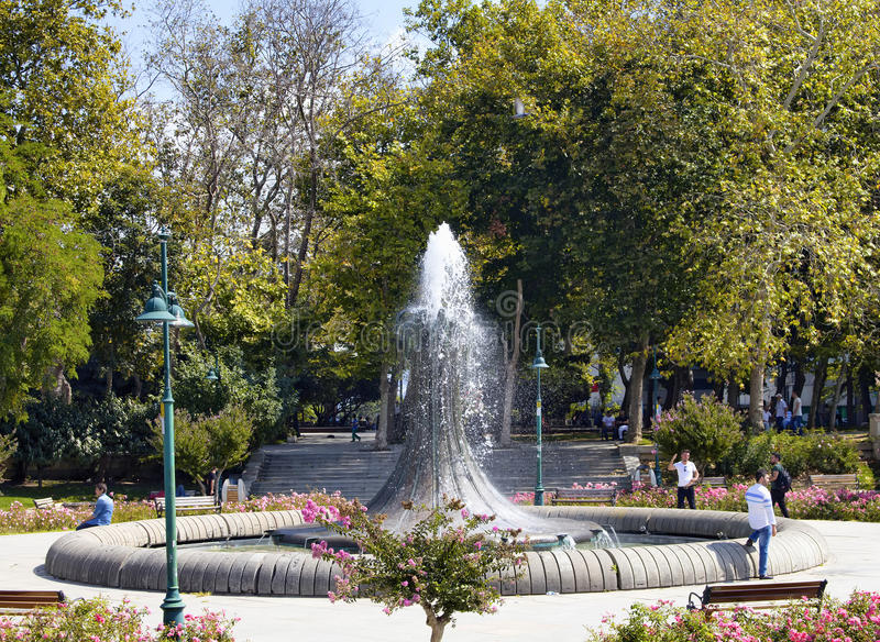 View of old water fountain at Taksim Gezi Park royalty free stock photos