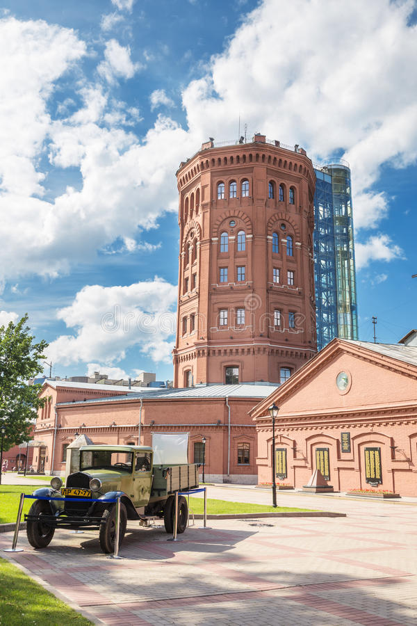 View of the old water tower building of the Vodokanal of St. Petersburg royalty free stock photos