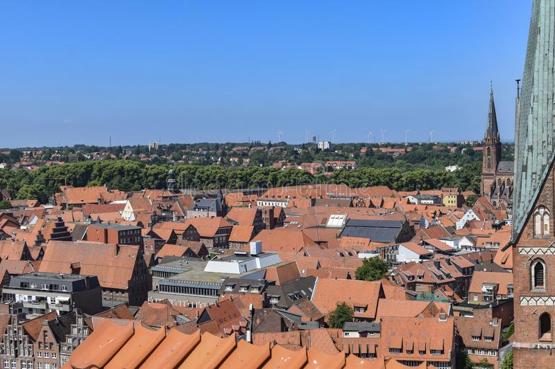 View from the old water tower of the historic Hanseatic city of Lueneburg, Germany, over the rooftops of the old town royalty free stock image
