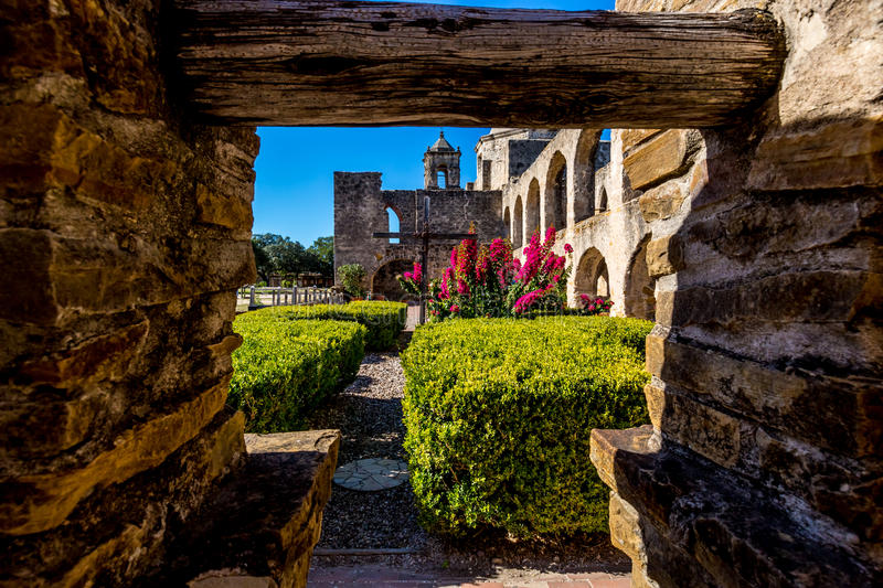 View Through an Old Water Well of the Historic Old West Spanish Mission Concepcion royalty free stock photos