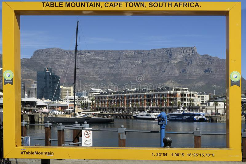 View from  old wharf in Cape town, south Africa to table mountain. CAPE TOWN, SOUTH AFRICA - APR 16, 2018: view from  old wharf in Cape town, south Africa to stock photography