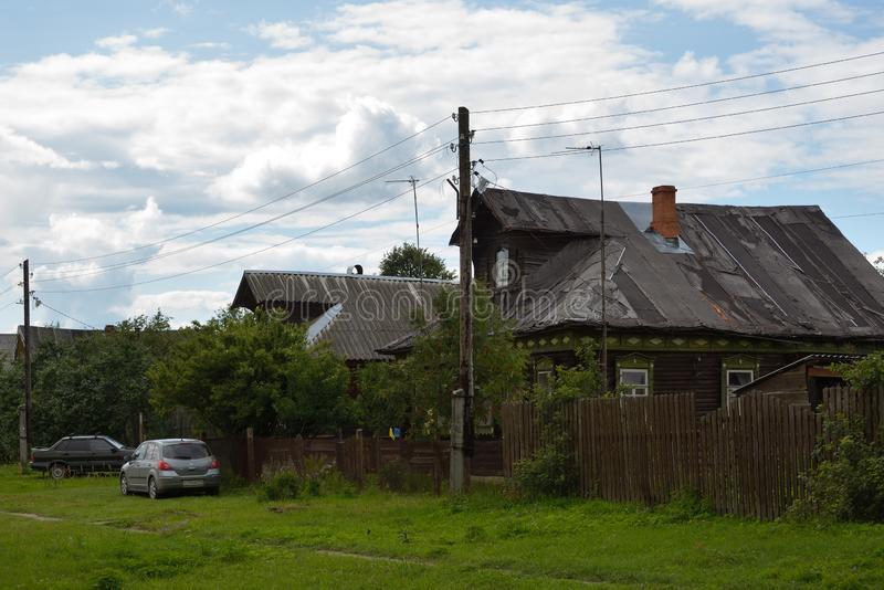 View of old wooden houses stock photography