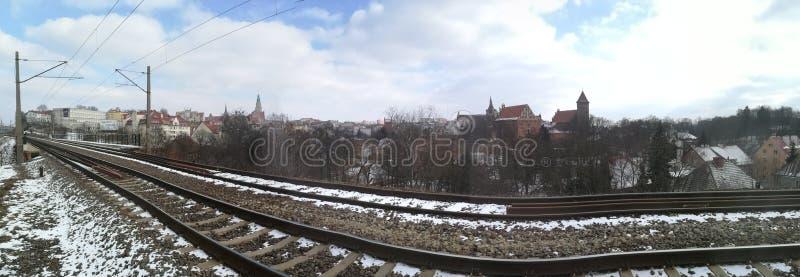 View on Olsztyn, Poland. From bridge royalty free stock photo