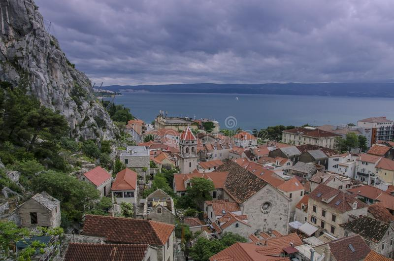 View on Omis, Croatia, where the Cetina River meets the Adriatic Sea stock photography