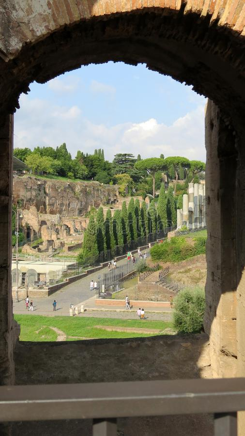 View from one of the arches of the Colosseum, Rome. royalty free stock images