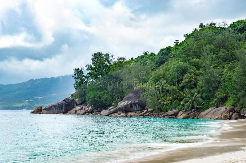 View of one of the beaches of Maya Island in the Seychelles in the Indian Ocean. Beautiful view of one of the beaches of Maya Island in the Seychelles in the stock image