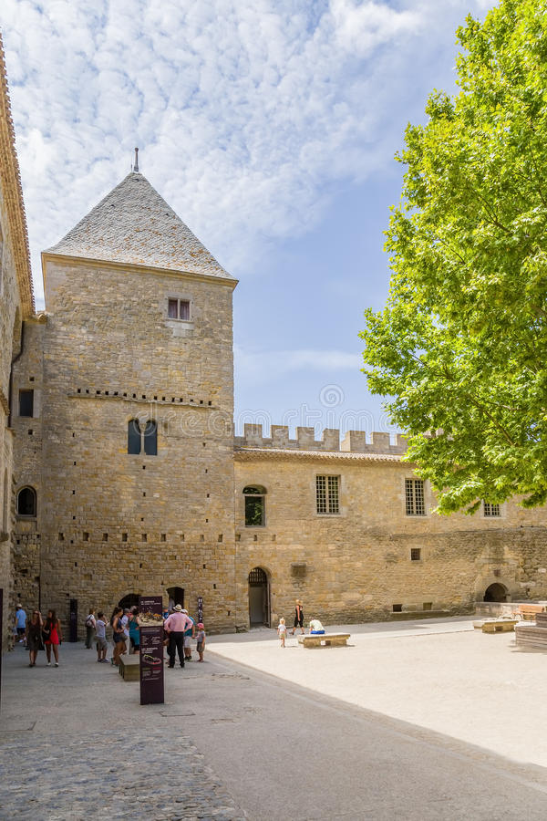 View of one of the courtyards of the castle Comtal in the fortress of Carcassonne (France), 1130. UNESCO List. Chateau Comtal is located within the fortress of stock photos