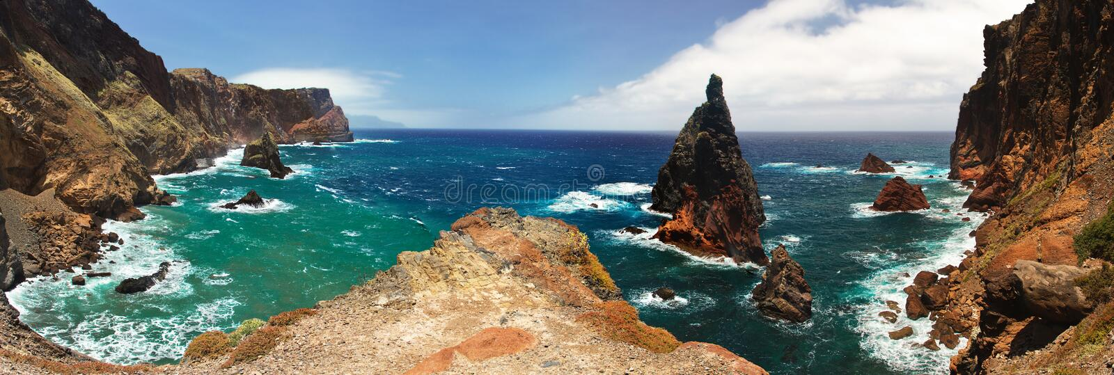 View of one of the many rocky bays of Madeira royalty free stock images