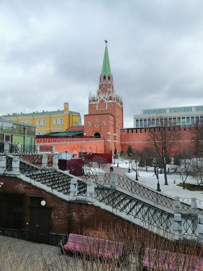 View of one of the Kremlin towers stock image