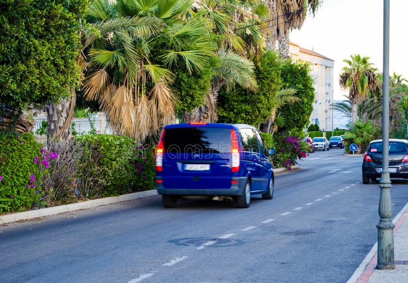View of a one-way road in Torrevieja Spain stock photography