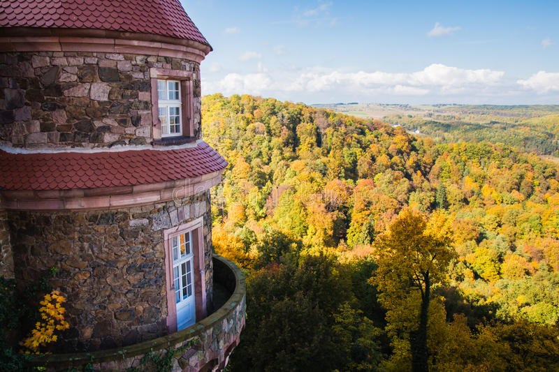 View from one of the windows at Ksiaz castle, just outside of Wa stock image