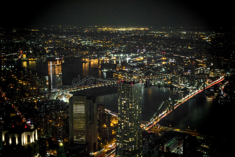View from One World Trade Center at night. royalty free stock image