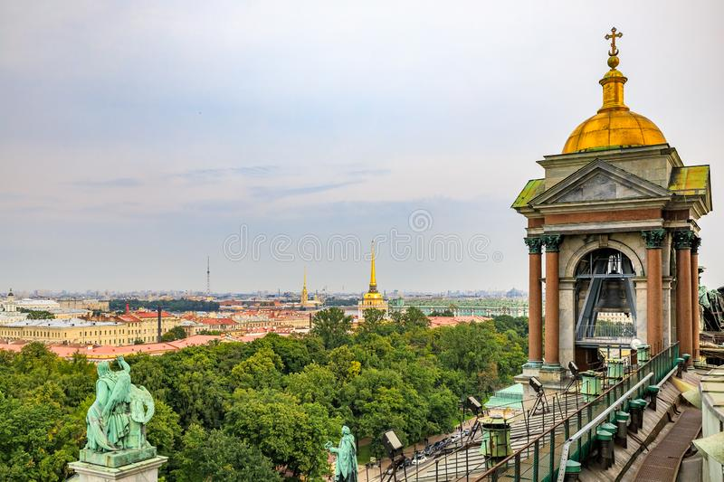 View onto the bell tower and city skyline from the roof of Saint Isaac`s Russian Orthodox Cathedral in Saint Petersburg, Russia royalty free stock photos