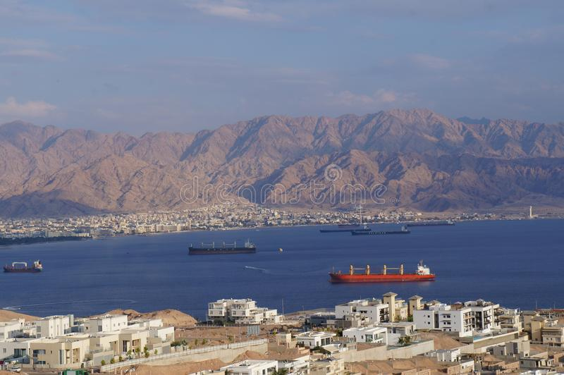 View onto the Eilat gulf. From above stock images