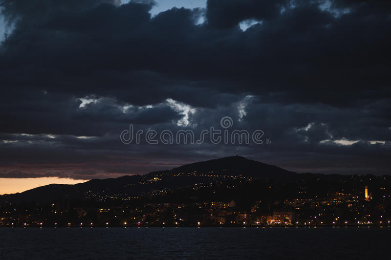 View onto surrounding buildings in Montreux by night royalty free stock photo