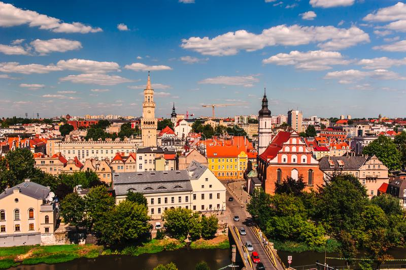 View of Opole from the Piast Tower. View of Old Town in Opole from the Piast Tower stock image