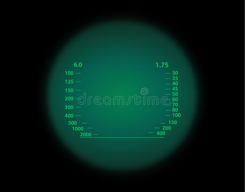 View through the optical sight. Night vision style. View through the optical sight scale. Night vision style of military weapon view illustration. Circle frame stock illustration