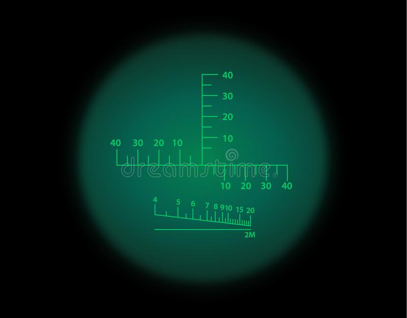 View through the optical sight. Night vision style. View through the optical sight scale. Night vision style of military weapon view illustration. Circle frame vector illustration