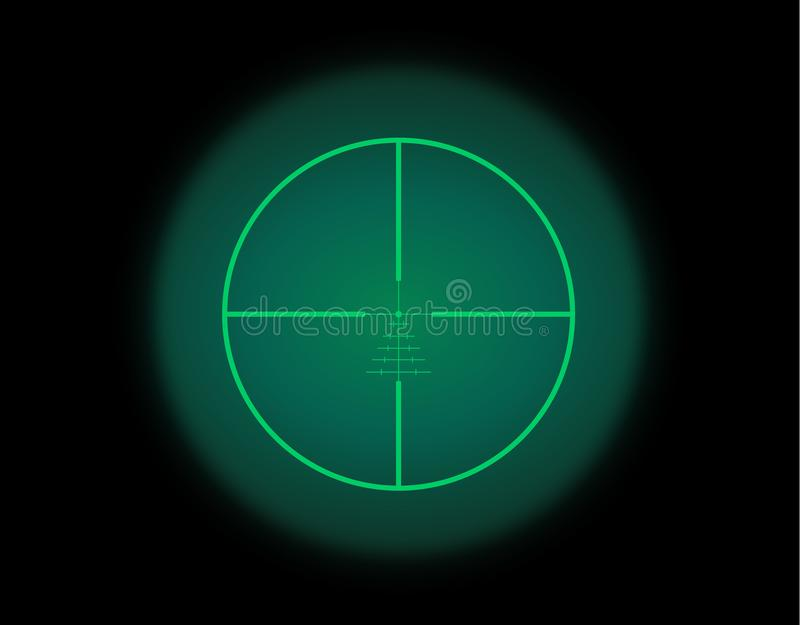 View through the optical sight. Night vision style. View through the optical sight scale. Night vision style of military weapon view illustration. Circle frame royalty free illustration