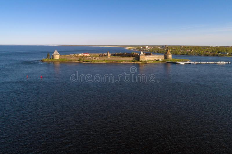 View of the Oreshek fortress aerial photography. Leningrad region, Russia. View of the Oreshek fortress on a May evening aerial photography. Leningrad region stock photography