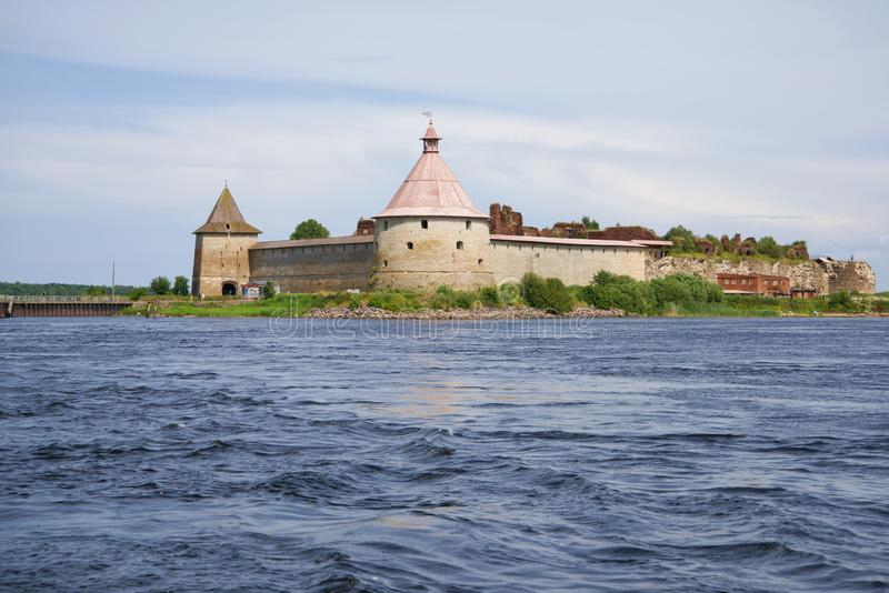View of the Oreshek fortress from the Neva water area. Leningrad region, Russia. View of the Oreshek fortress from the Neva water area on a July afternoon royalty free stock images