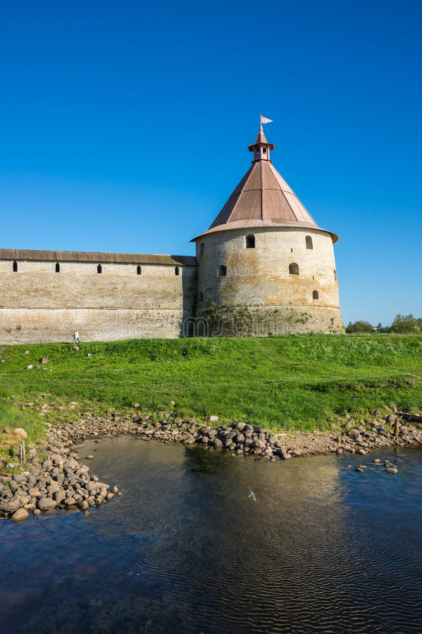 View of Oreshek fortress. Oreshek fortress is situated on the small Orekhovy Island in the River Neva`s outflow from Lake Ladoga, Leningrad region, Russia royalty free stock photos