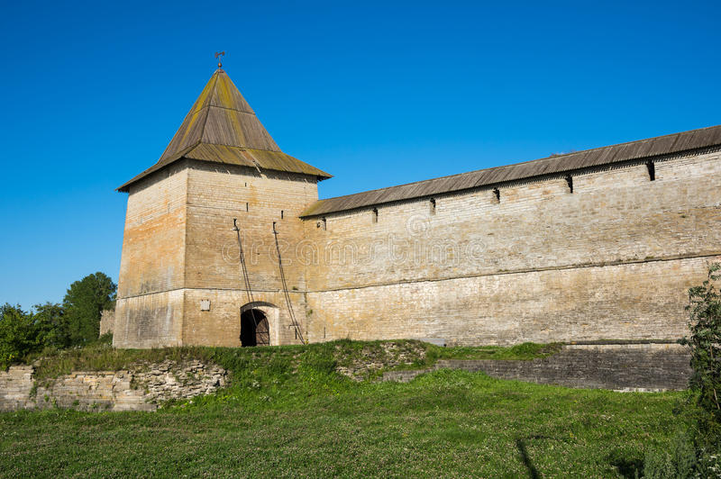 View of Oreshek fortress. Oreshek fortress is situated on the small Orekhovy Island in the River Neva`s outflow from Lake Ladoga, Leningrad region, Russia royalty free stock image