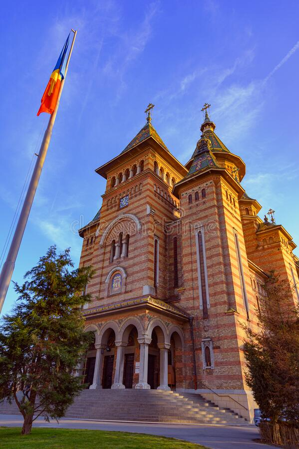 The view of Orthodox Cathedral Catedrala / Timisoara, Romania.  stock photography