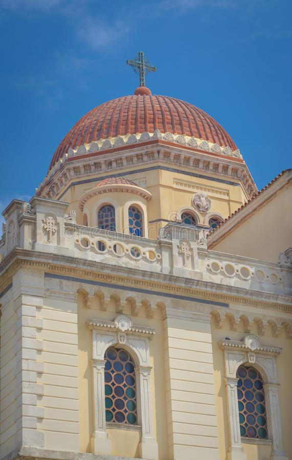 View of the Orthodox Greek church. In the Byzantine style royalty free stock images