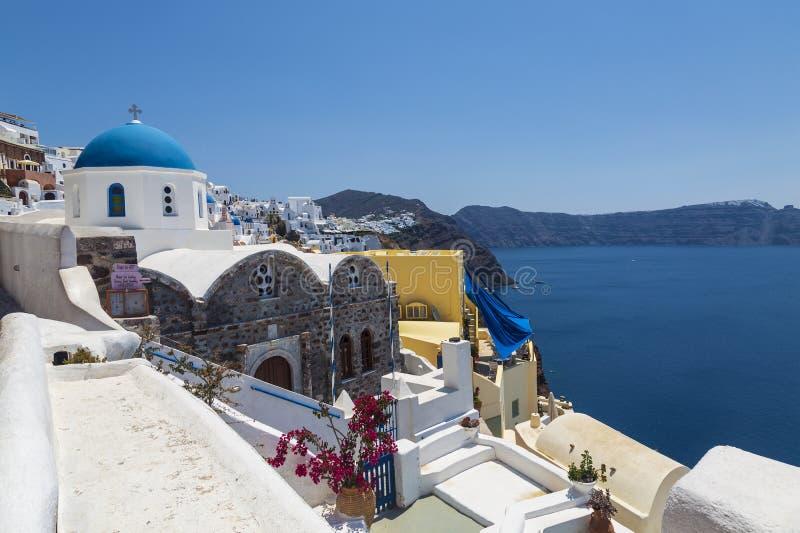 View of the Orthodox Greek Church of St. Nicholas. Santorini, Oia,. Greece royalty free stock image