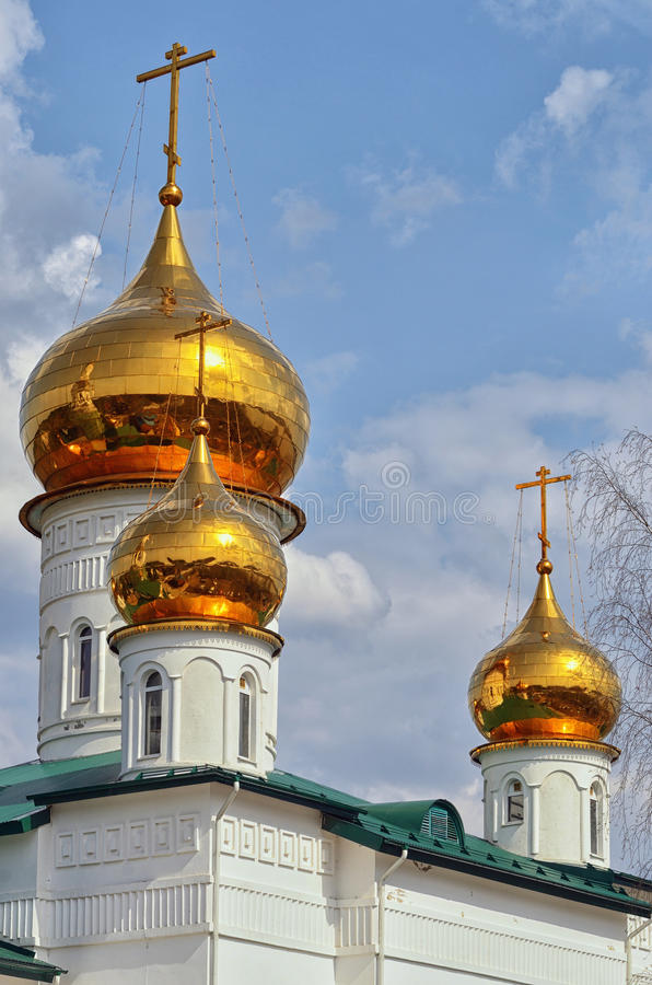 View of Orthodox monastery with Golden domes of churches . stock photo