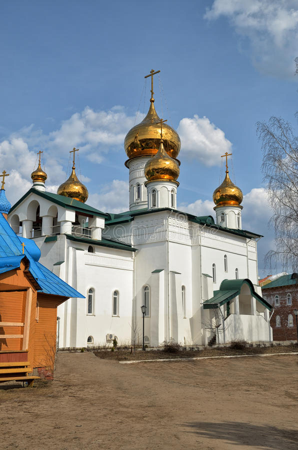 View of Orthodox monastery with Golden domes of churches . royalty free stock photography