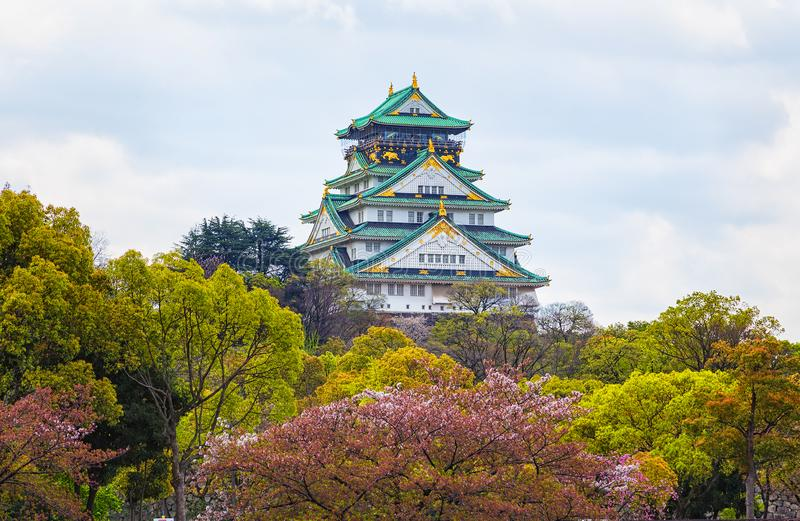 View of Osaka Castle in Osaka with autumn leaves,Janpan. View of Osaka Castle in Osaka with autumn leaves, Janpan royalty free stock images