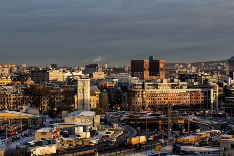View of Oslo City Hall stock photos