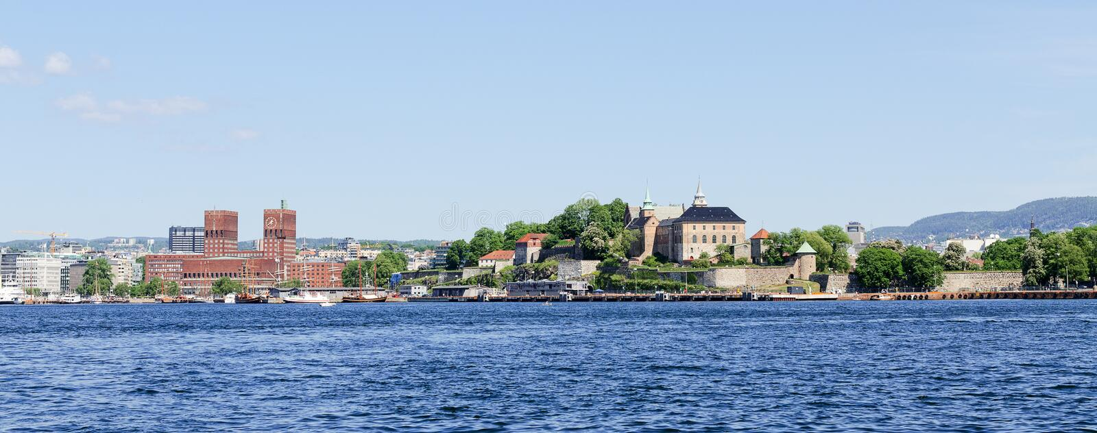 View on Oslo Fjord harbor and Akershus Fortress panorama stock photography